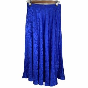 Pape'll Too Royal Blue 100% Silk Floral Skirt Sz 6